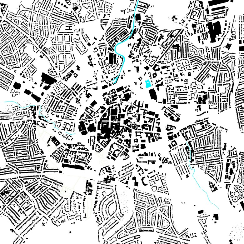 The Figure Ground Plan of Coventry today. This is like an X Ray of the city, showing its structure and particularly the sharp contrast between the density of its centre and the lower density suburbs on the other side of the moat created by its ring road.